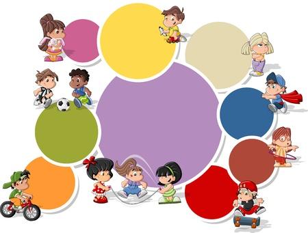 jugar: Plantilla colorida para el folleto publicitario con lindos niños jugando felices de la historieta Vectores