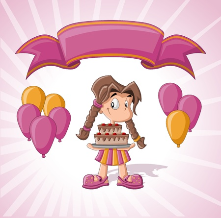 beginner: Cute girl with birthday cake, balloons and pink ribbon  Birthday party  Illustration