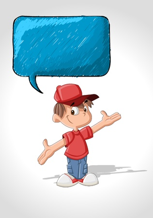family discussion: Cute cartoon boy talking with speech balloon Illustration
