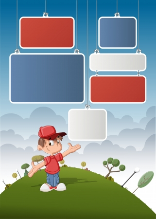 Cute cartoon boy on green park with boards for template   design   Vector