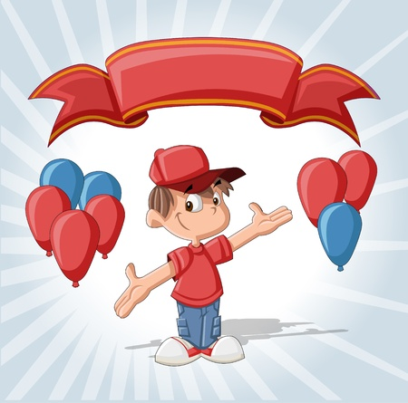 Cute boy on a birthday party with balloons and red ribbon    Vector