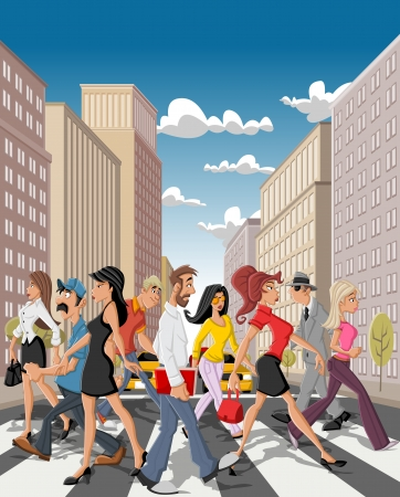 real people: Cartoon business people crossing a downtown street in the city with tall buildings