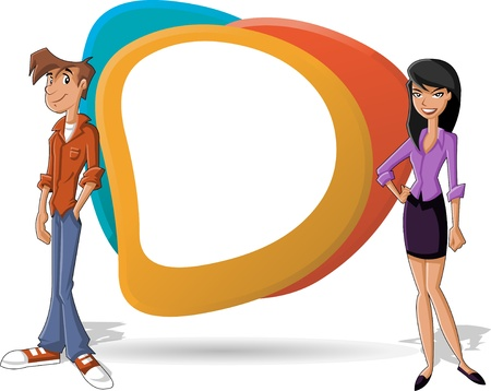 whiteboard: Cartoon business couple and white billboard with empty space  Presentation screen   Illustration