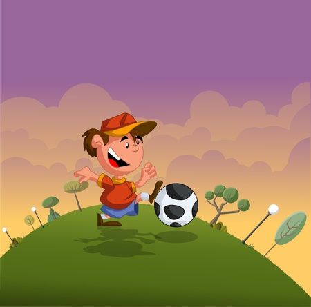 Cartoon boy playing with soccer ball on green park Vector