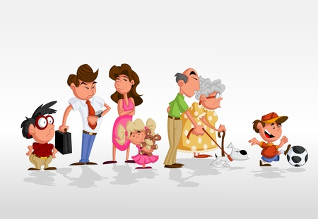 Colorful cute happy cartoon family Vector