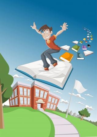 Cartoon boy flying on big book over school