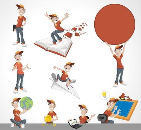 youthful: Cartoon kid  Mascot boy wearing red t-shirt and hat