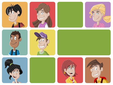 lass: Faces of cartoon teenager students