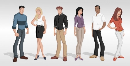 redhead woman: Group cartoon business people  Teenagers