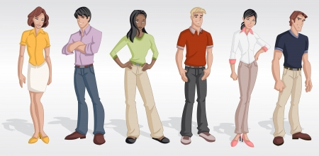 happy people faces: Group cartoon business people  Teenagers