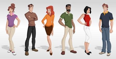 Group cartoon business people  Teenagers