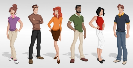 Group cartoon business people  Teenagers