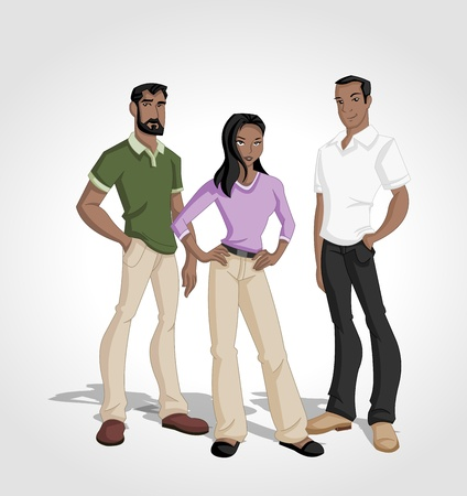 Group of cartoon black people Vector