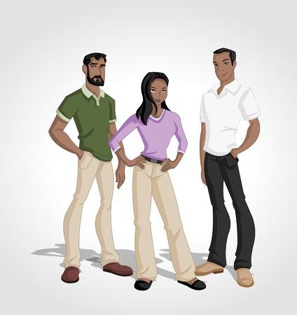 happy black man: Group of cartoon black people