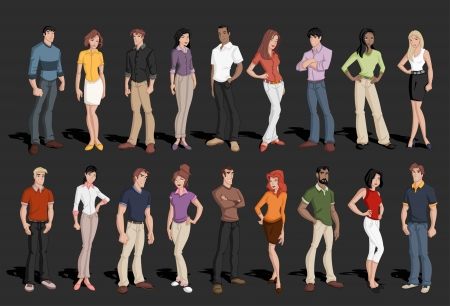 redhead: Group of cartoon business people  Illustration