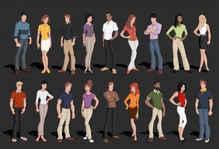blond: Group of cartoon business people  Illustration
