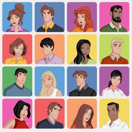 Gezichten van cartoon mensen uit het bedrijfsleven