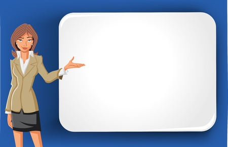 Cartoon business woman and white billboard with empty space  Presentation screen