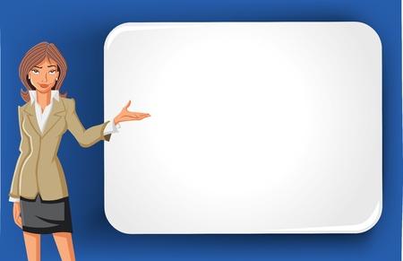 Cartoon zakelijke vrouw en wit bord met lege ruimte Presentatie scherm
