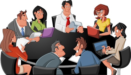 business team meeting: Meeting table with cartoon business people Illustration