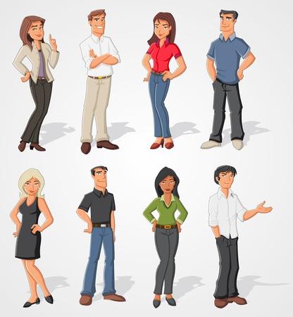 Groep van cartoon mensen uit het bedrijfsleven Stock Illustratie