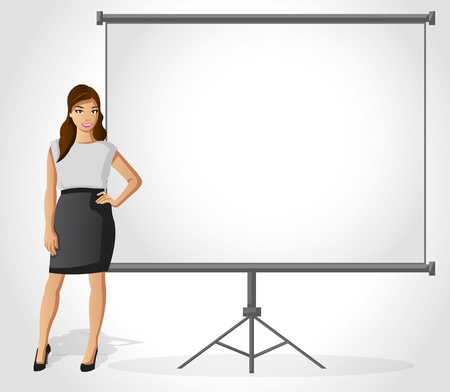 explaining: Business woman with presentation screen