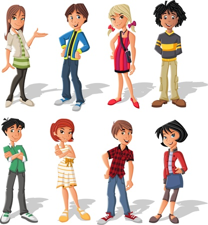 college girl: Group of fashion cartoon young people