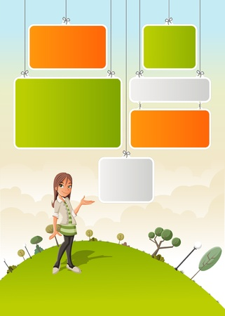 Cute cartoon girl on green park with boards for template   design  Vector