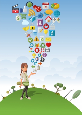 Cute cartoon girl on green park with Internet and Website icons Set Vector