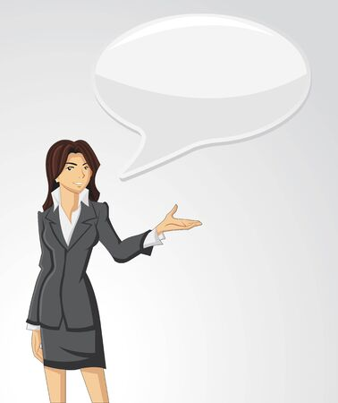 debate: Business woman wearing suit talking with speech balloon