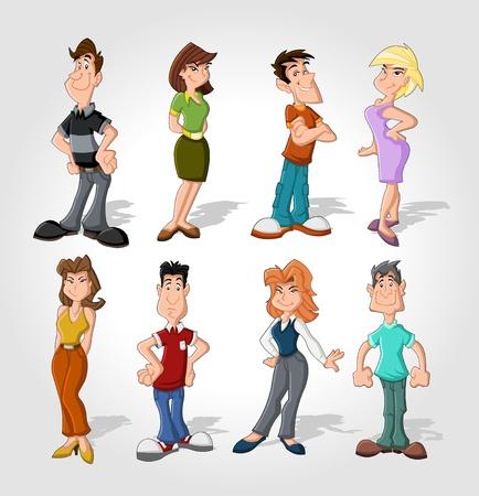 dibujos animados de mujeres: Grupo de personas felices de la historieta