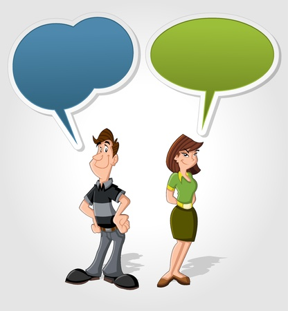 isteme: Konuşma balonu ile konuşurken Karikatür erkek ve kadın