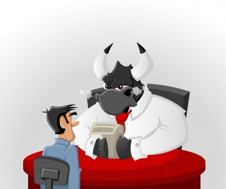 angry boss: Cartoon man with his angry bull boss in office