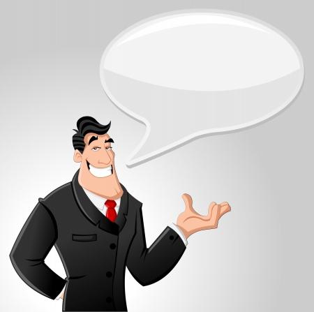 discuss: Cartoon man wearing suit talking with speech balloon Illustration