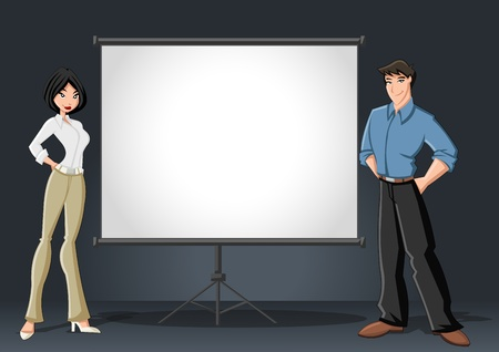 Cartoon business couple and white billboard with empty space  Presentation screen  Vector