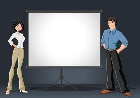 profesor: Cartoon par de negocios y cartelera blanca con la pantalla vac�a de espacio de presentaci�n