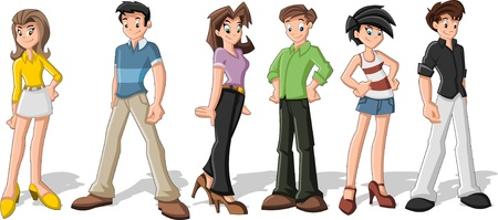Group of cartoon people  Teenagers