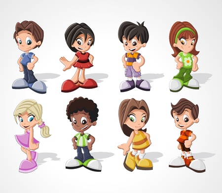 children group: Set of 8 cute happy cartoon kids