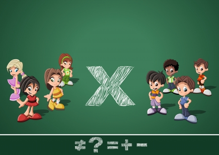cartoon math: Math symbols and kids on green blackboard  Boys versus girls