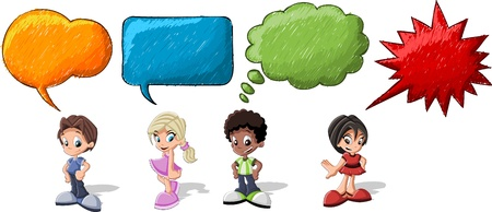 debate: Cartoon children talking with speech balloon
