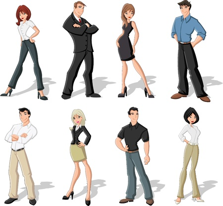 gerente: Grupo de hombres de negocios de dibujos animados Vectores