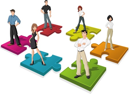 Cartoon business people over puzzle pieces Vector