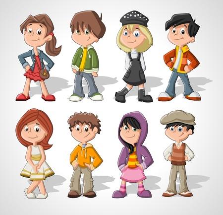 cartoon jongen: Set van 8 schattige vrolijke cartoon kinderen Stock Illustratie