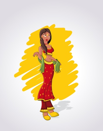 Beautiful sexy brunet cartoon indian woman