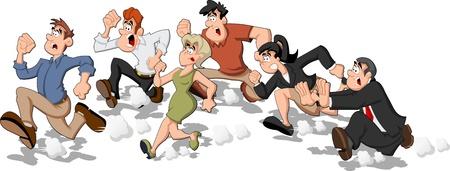 결정된: 고속 경주를 실행하는 만화 사람들 일러스트