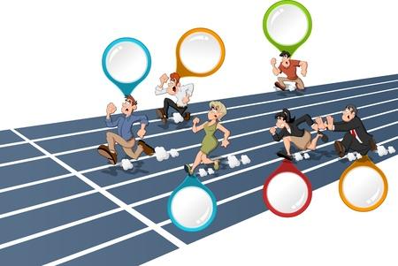jogging track: Cartoon people running  High speed race