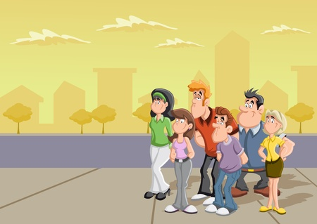Group of cartoon people on the street  Vector