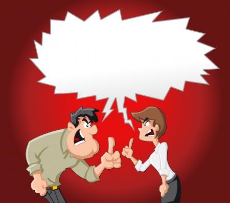 Pareja de dibujos animados luchando y señalando con el dedo a los demás