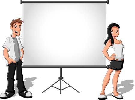 explaining: Cartoon teenagers and white billboard with empty space  Presentation screen