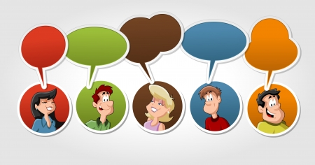 lass: Group of cartoon people talking with speech balloon